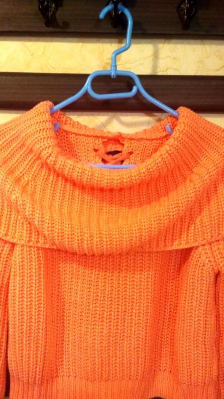 Теплый свитер, кофта женская, свитер с хомутом, тепла жіноча кофта, светр грубої в'язки фото №3