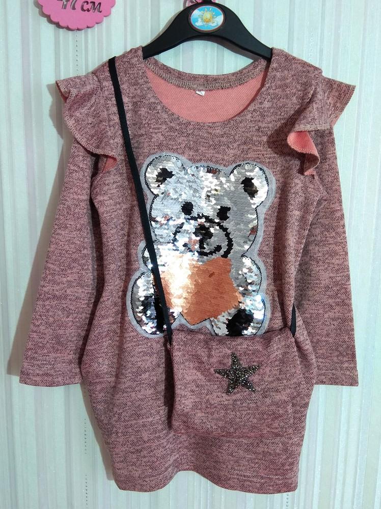 Розовое платье с мишкой и сумочкой р. s фото №3
