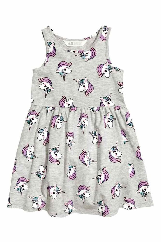 Серое платье h&m с единорогами р. 2-4 года фото №1
