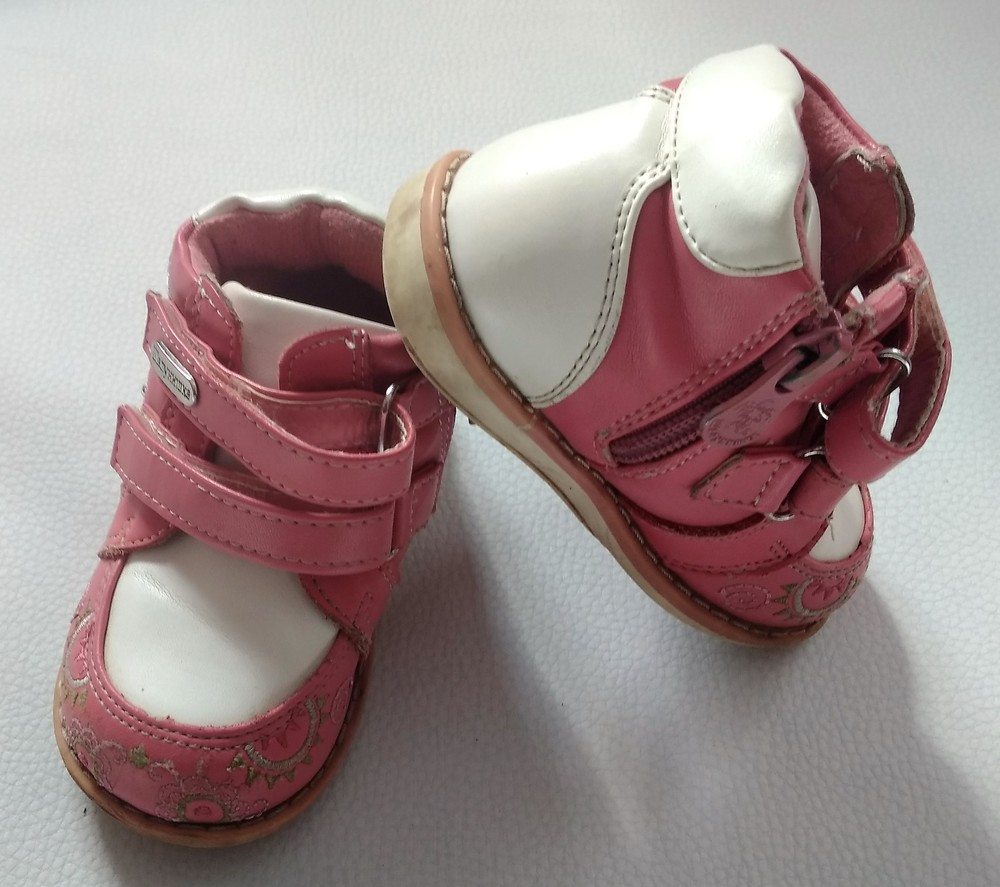 Розово-белые ботинки шалунишка ортопед р .21 фото №3
