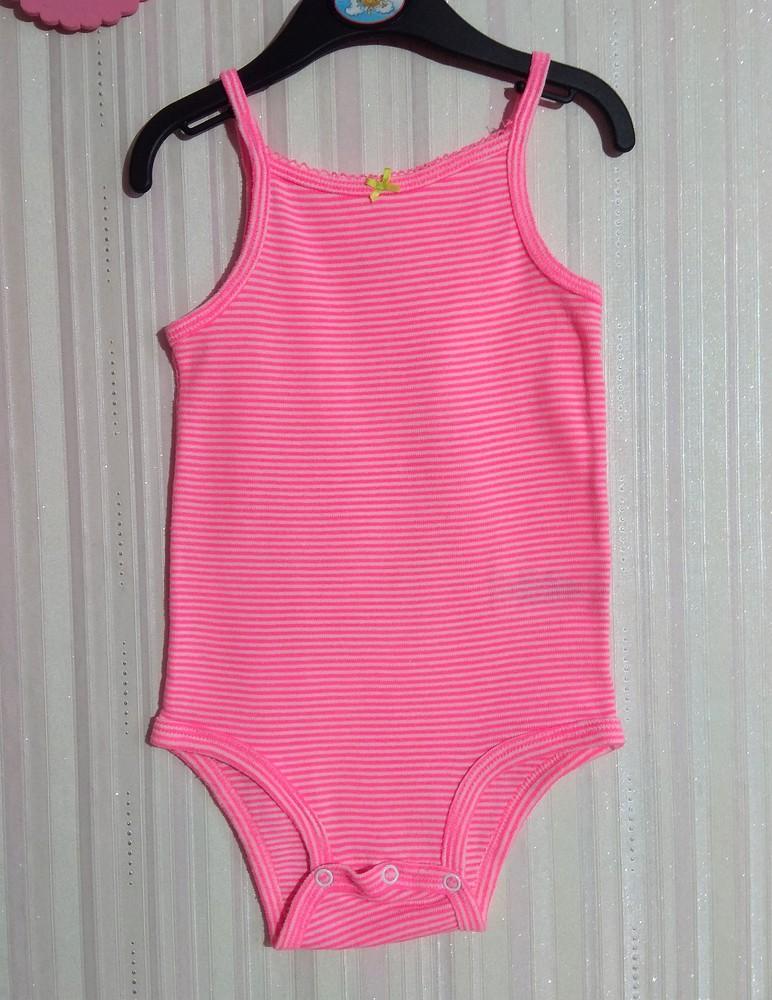 Розовый яркий боди-маечка carter's р. 12 мес фото №1