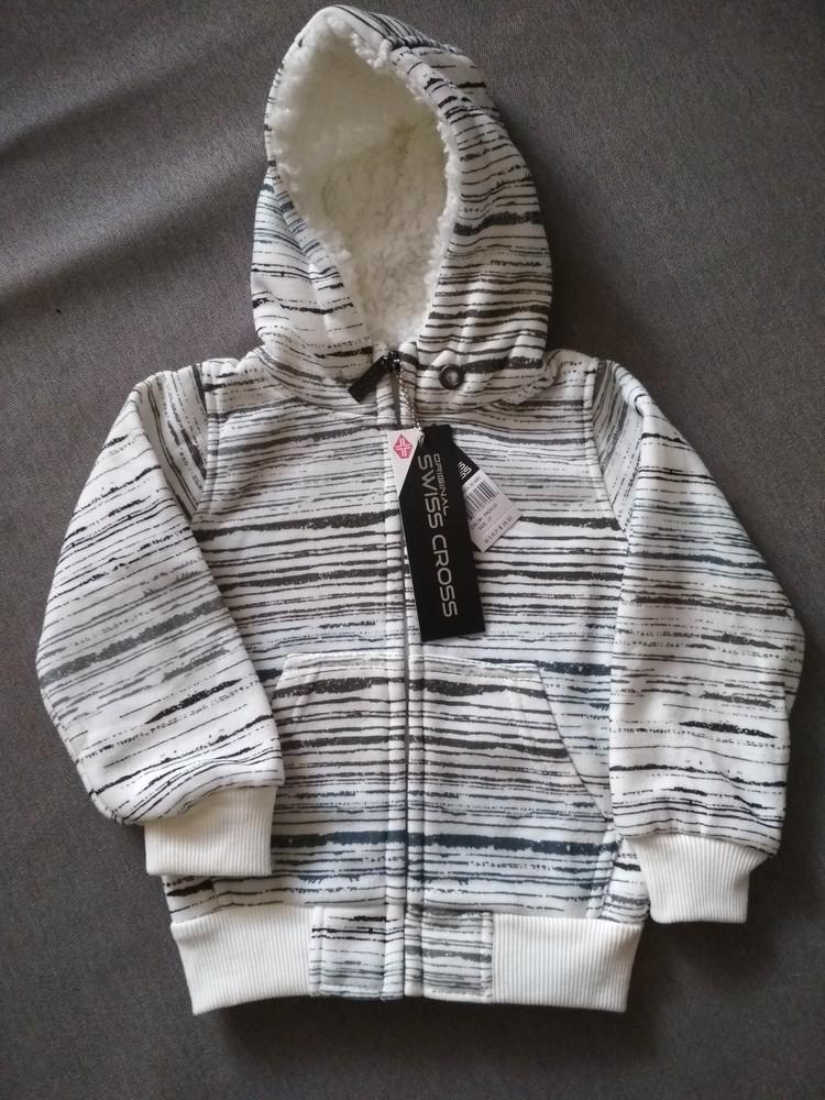 Новая теплая белая толстовка худи swiss cross, сша, мальчику и девочке на 1-2 года, размер 2т фото №1