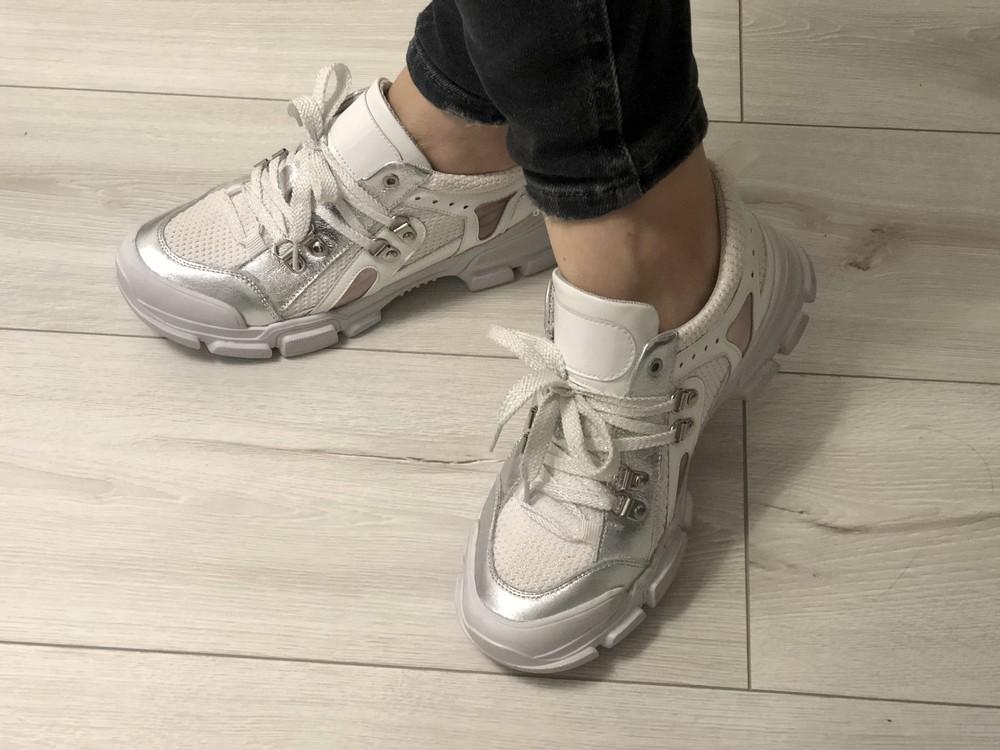 Кожаные кроссовки в стиле gucci 24,5 см фото №2
