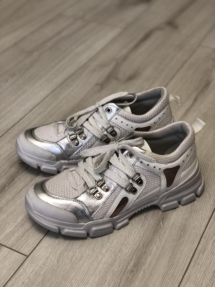 Кожаные кроссовки в стиле gucci 24,5 см фото №3