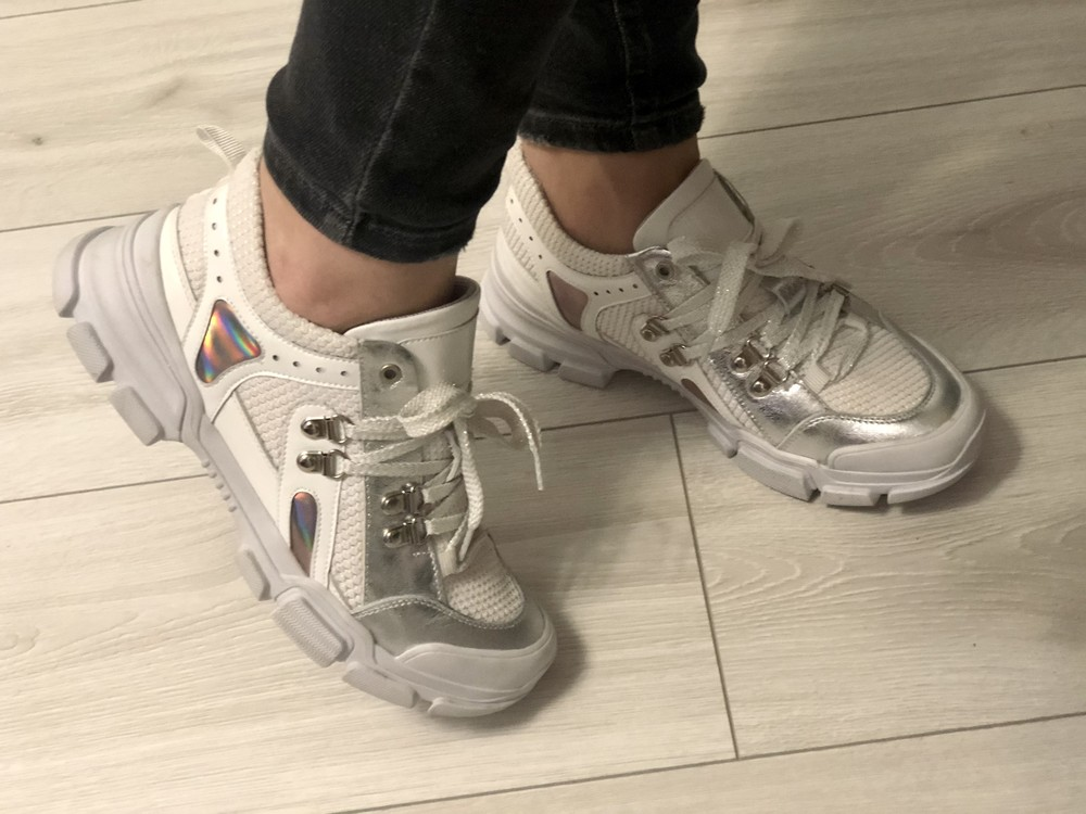 Кожаные кроссовки в стиле gucci 24,5 см фото №8