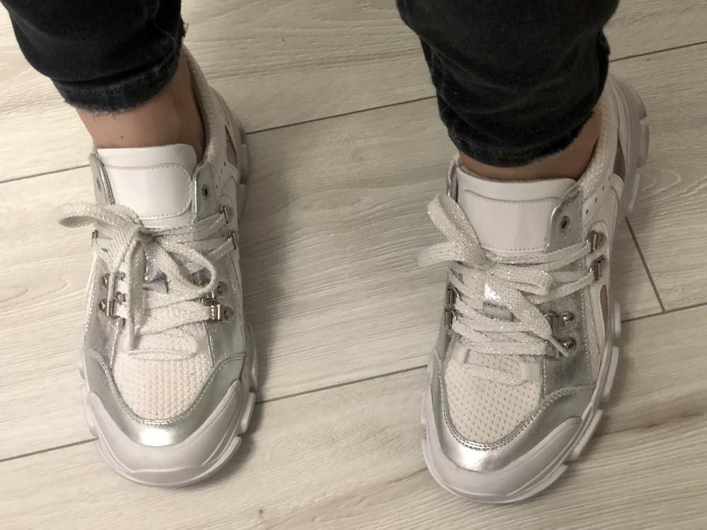 Кожаные кроссовки в стиле gucci 24,5 см фото №9