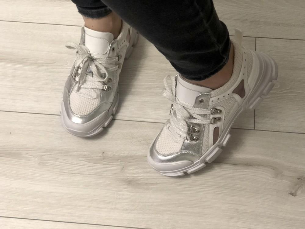 Кожаные кроссовки в стиле gucci 24,5 см фото №10
