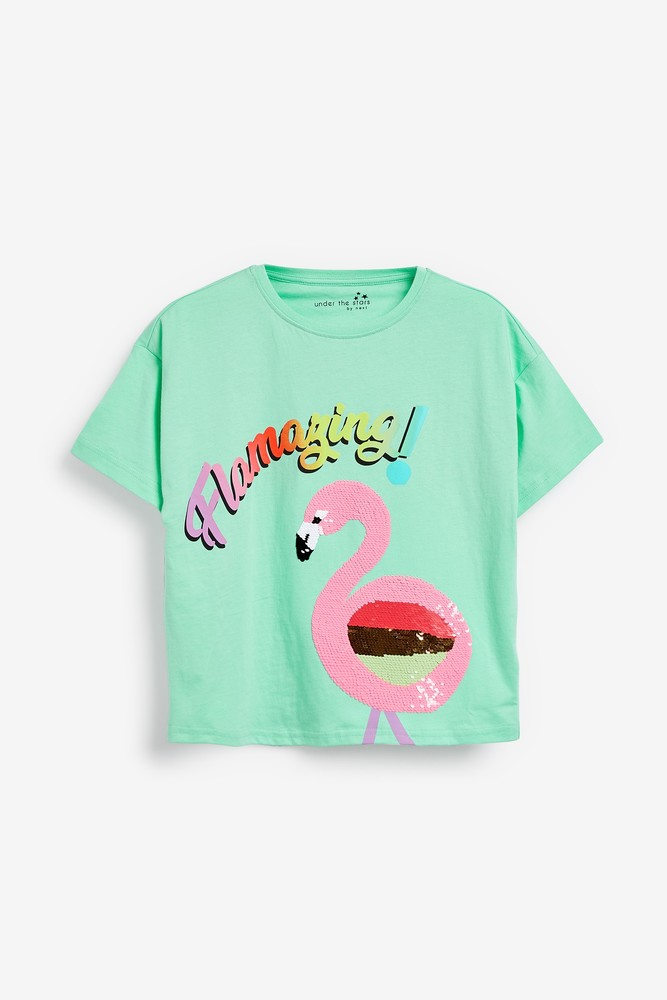 Пижама - next - футболка и шорты - фламинго, паетки перевертыши, р140/152 фото №2