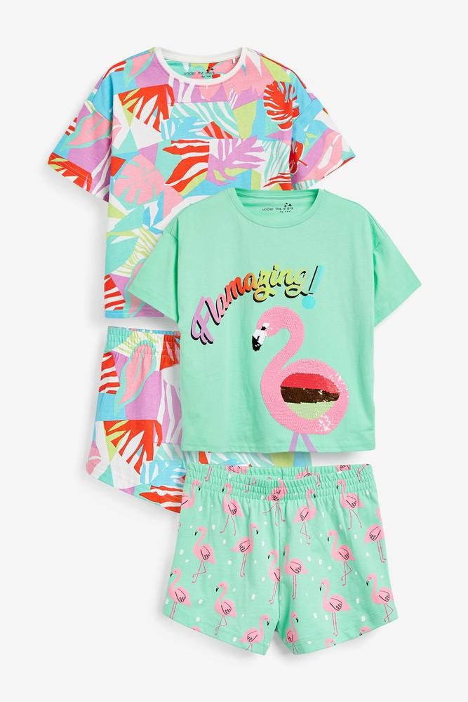 Пижама - next - футболка и шорты - фламинго, паетки перевертыши, р140/152 фото №1
